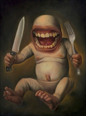 lunch-monkey-surreal-horror-painting-by-karl-persson